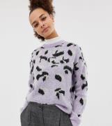 Jersey cepillado con diseño animal en violeta de New Look