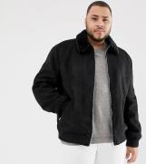 Modelo Harrington de antelina en negro con cuello de borreguito Big & ...