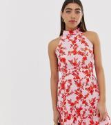 Vestido con cuello subido con estampado floral variado de River Island