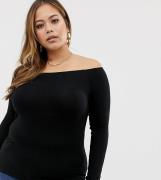 Top con escote Bardot y manga larga en negro de ASOS DESIGN Curve