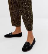 Mocasines con costuras en contraste en negro de New Look